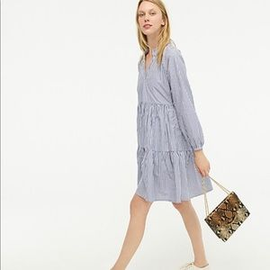 J. Crew Tiered popover dress in striped cotton